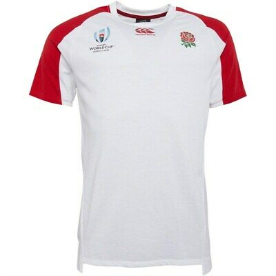 England Rugby Canterbury Top RWC Men's Performance Cotton T-Shirt - White - New • 14.99£