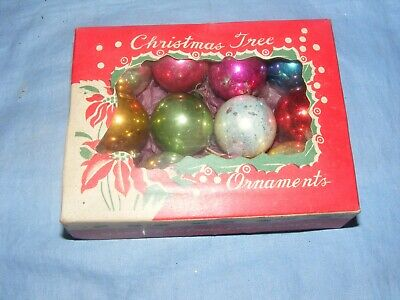Vintage Christmas Tree Decoration Glass Baubles Miniature Ornaments Boxed (b) • 25£