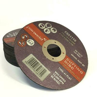 £6.16 • Buy (PACK OF 10) PARWELD 115mm X 1mm Thin Metal Cutting Discs For Angle Grinder INOX