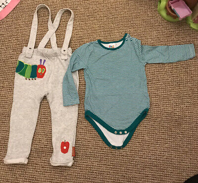 Baby Boy Clothes 2 Piece Dungarees And Matching Top Catterpilla Set 18-24M By TU • 8£