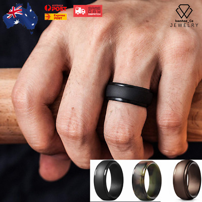 AU8.95 • Buy Men's Stepped Edge Silicone Wedding Ring Bands Flexible Work Sport Gym AUS