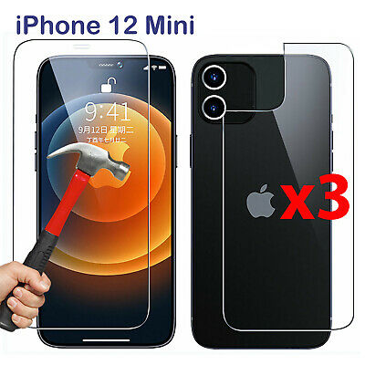 AU15.99 • Buy X3 Tempered Glass Screen Protector For Apple IPhone 12 Mini Front And Film Back