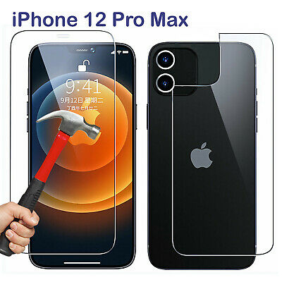 AU6.99 • Buy 9H Tempered Glass Screen Protector For Apple IPhone 12 PRO MAX Front + Film Back