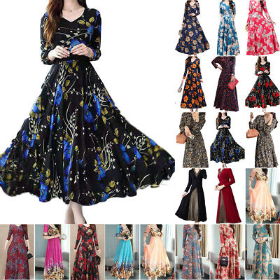 AU23.17 • Buy Womens Floral V Neck Swing A-Line Dress Ladies Summer Cocktail Party Dresses AU