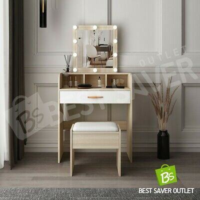 AU149.75 • Buy Dressing Table Mirror Stool Makeup Table Jewellery Cabinet With 10 LED Bulbs Oak