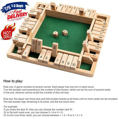 £11.32 • Buy New Shut The Box Game Wooden Board Number Drinking Dice Toy Family Game Fun XMAS