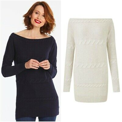 Simply Be Ladies Cable Knit Bardot Tunic Top Long Sweater Jumper Plus Size 12-26 • 8.99£