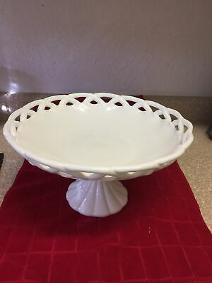 $35 • Buy Vintage Large White Milk Glass Lace Edge Pedestal Footed Fruit Bowl Or Compote