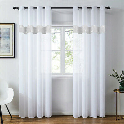 £12.99 • Buy PAIR READY MADE Net CURTAINS Diamante Sparkle JEWEL VOILE Tape Top Pencil Pleat.