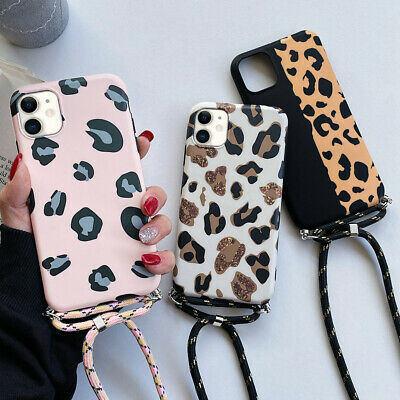 For IPhone 11 XR XS 12 8 7 SE Leopard Print Case Cover With Neck Strap Lanyard • 4.95£