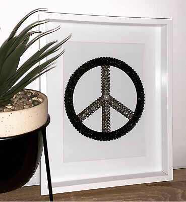 Handmade Diamante Peace Sign Wall Art Bling Embellished Picture • 25£