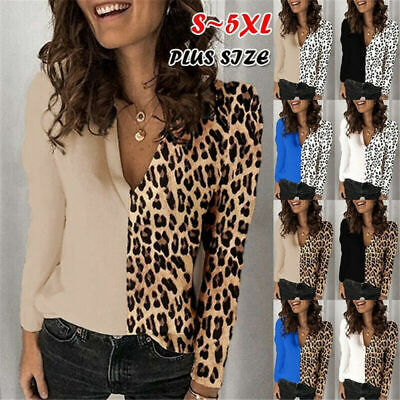 Womens V-Neck Leopard Print Shirt Tops Lady Long Sleeve Casual Blouse Plus Size • 8.45£