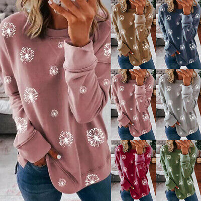 Womens Loose Long Sleeve Sweatshirt Ladies Casual Dandelion Jumper Tops Blouse • 10.59£