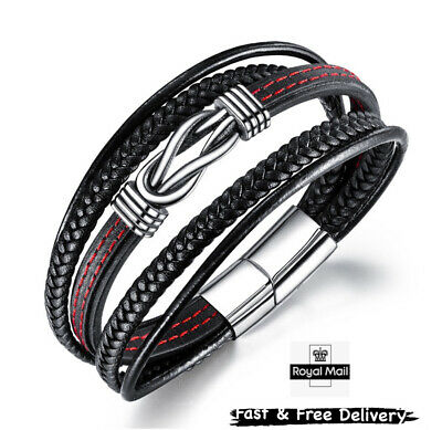 Mens Leather Braided Bracelet Wristband Stainless Steel Clasp Jewellery Gift  • 8.49£