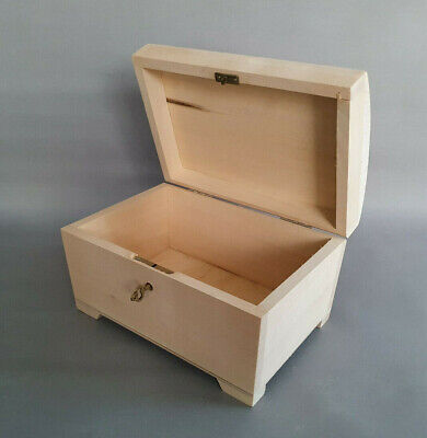 Large Wooden Storage Chest Box Lockable Weeding Cards Craft Decoupage Jewellery • 13.69£