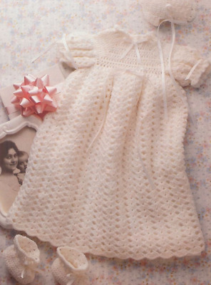 Crochet Pattern 3116.   Baby Christening Gown, Hat & Bootees.   0-3 Months • 0.99£