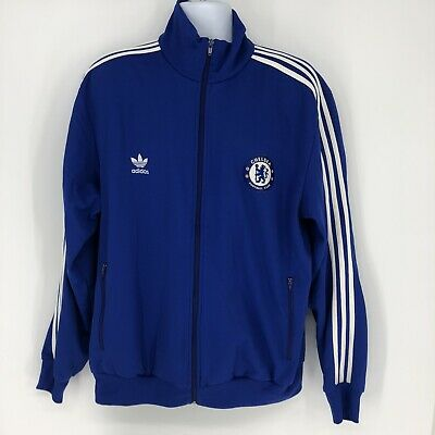 $ CDN50.86 • Buy Adidas Trefoil Logo Chelsea Football Club Blue 3 Stripe Soccer Jacket Men's 2X