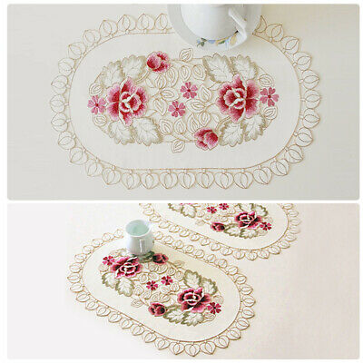 4Pcs Embroidered Floral Placemats Oval Lace Table Mats Washable Doilies 30x45cm • 7.30£