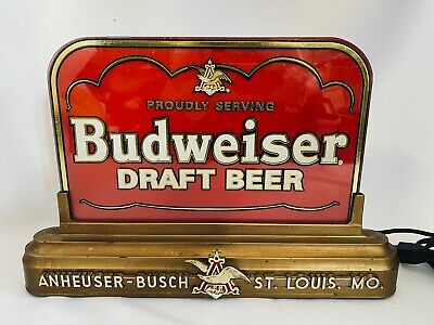 $ CDN101.64 • Buy Vintage Proudly Serving Budweiser Draft Beer Reverse Painted Glass Lighted Sign