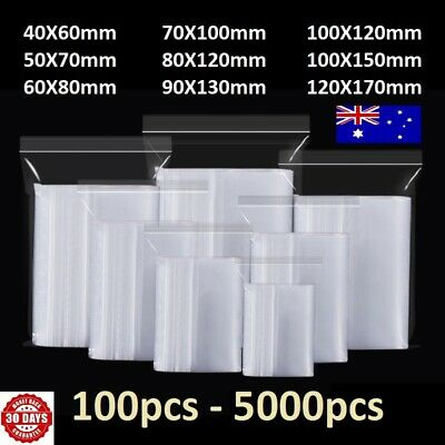 AU4.59 • Buy 100-5000pcs Small Zip Lock Plastic Bag Reclosable Resealable Zipper Australia HQ
