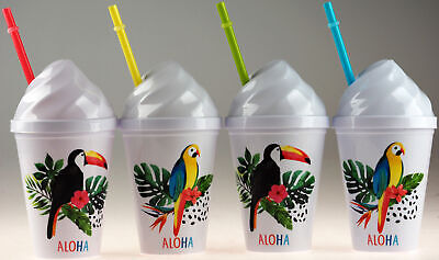 Set Of 4 Plastic Toucan Parrot Tropical Bird Cups With Ice Cream Lid And Straw • 9.99£