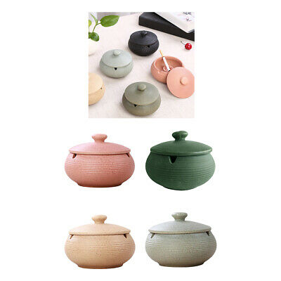 4xCeramic Ashtray With Lid & Water Tank Windproof Ash Holder For Smokers • 39.22£