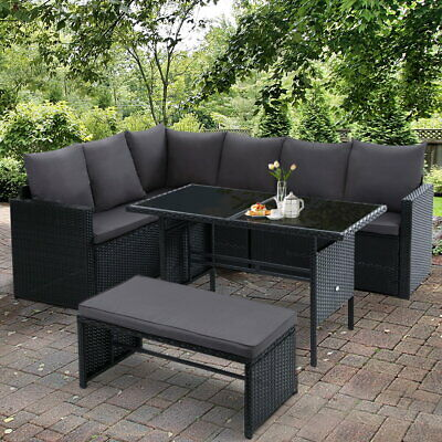 AU799.95 • Buy Outdoor Furniture Lounge Wicker Setting With Storage Cover UV Resistant 8 Seater