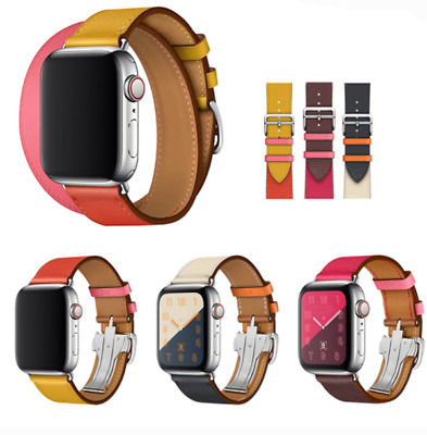 AU16.99 • Buy For Apple Watch Series 6 5 4 3 2 SE Leather Watch Band Belt Single Double Tour