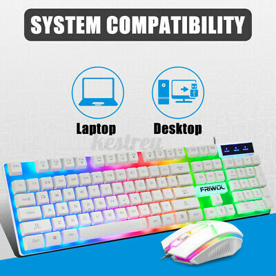 AU17.28 • Buy Gaming Keyboard Mechanical Keyboard And Wired Mouse  Set For PC Laptop Whi