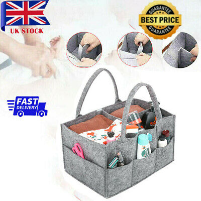 View Details Baby Diaper Organizer Caddy Felt Changing Nappy Kids Storage Carrier Bag Grey~UK • 8.19£