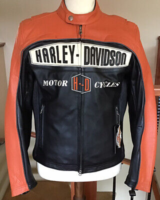 $ CDN317.18 • Buy NWT HARLEY DAVIDSON Men's Size MEDIUM Leather Racing Jacket In Mint Condition!