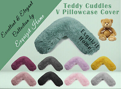 TEDDY CUDDLES V SHAPED Neck Back Pillow Cushion Case Pregnancy V Cover Only • 8.99£