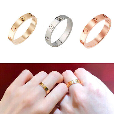 Women STAINLESS STEEL LOVE SCREW RING GOLD SILVER ROSE-GOLD WEDDING Gift 4mm • 1.86£