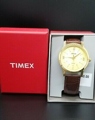 $12.66 • Buy NEW Timex Men's Acqua AA3C79200 Gold Dial Brown Leather Band 30M W/R Watch