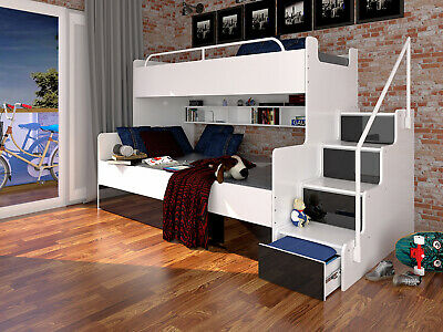 Bunk Bed Children Kids Cabin Twin Stairs Many Colours High Gloss Inserts NEW • 735£