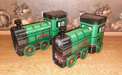 2 X NOVELTY COLLECTABLE STEAM TRAIN SWEET TINS . BRAND NEW WITH  FUDGE. • 14.95£