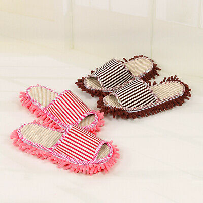 £7.99 • Buy 1Pair Stripe Mop Slippers Lazy Floor Socks Shoes Dust Quick Polishing Cleaning