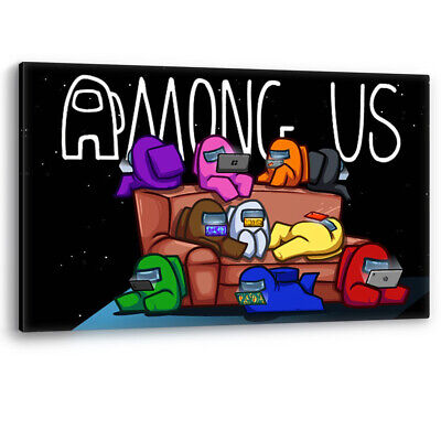 Among Us Game Characters Playing On A Sofa Framed Canvas Wall Art Picture Print • 14.95£