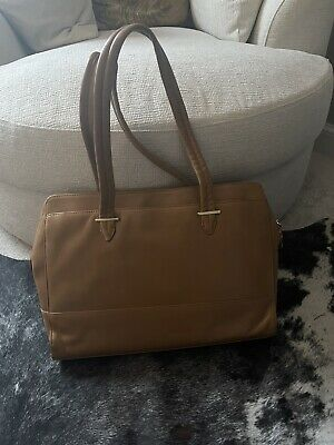 """Knomo 14"""" Tan Soft Leather Laptop Bag Gold Plated Fittings Was £350 • 30£"""