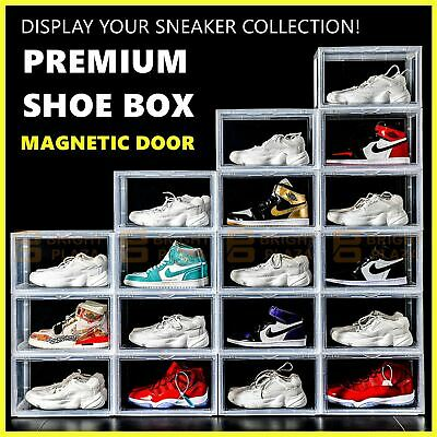 AU28.95 • Buy Premium Sneaker Display Shoe Box Storage Case Clear Plastic Boxes Side Stackable