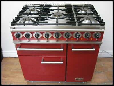 Falcon 90  Deluxe Dual Fuel Range Cooker Cherry Red & Brushed Chrome Brand New  • 2,975£
