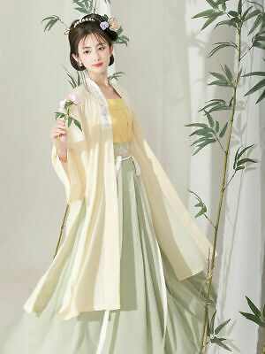$ CDN31.43 • Buy Women Song Dynasty Hanfu Three Piece Set Chinese Style Tops Skirt Strap Suits