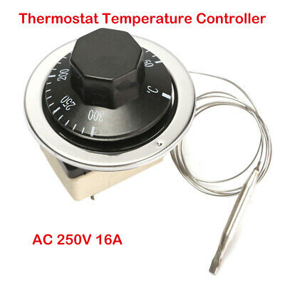 AU15.79 • Buy Electric Oven 50-300℃ 250V 16A Capillary Thermostat Temperature Controller 3 Pin