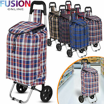 Large Shopping Trolley Cart 2 Wheels Foldable 47L Capacity Durable Luggage Bag • 11.95£