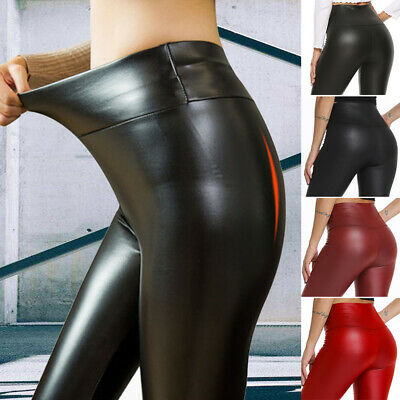 Ladies Womens Wet Look Leather Tummy Control Leggings Stretch Pant PVC Trousers • 12.98£