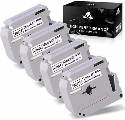 $8.69 • Buy 4PK MK M-K231 Label Tape Compatible For Brother P-touch 12mm 1/2  8M Black White