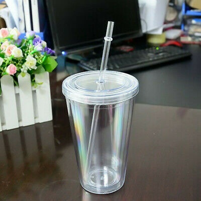 £7.75 • Buy 500ml Double Walled Cup Plastic Clear With Lid And Straw Drinks Insulated UK