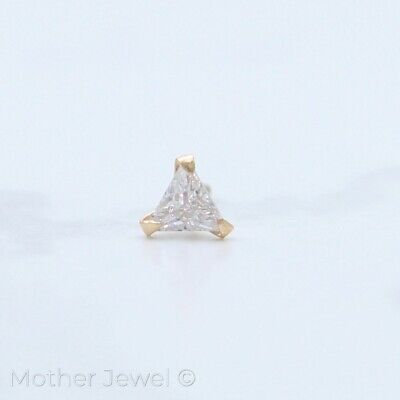 AU19.99 • Buy Real 9k Solid Gold Triangle Simulated Diamond 22g Nose Piercing Stud Pin Ring