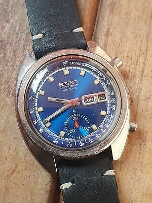 $ CDN406.04 • Buy Vintage Chronograph Seiko 6139-6012 Day Date Blue Dial Automatic Men's Watch