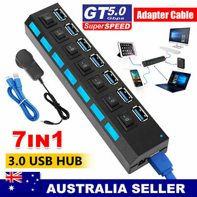 AU17.98 • Buy 7 Port USB 3.0 HUB Powered +High Speed Splitter Extender PC AC Adapter Cable AU